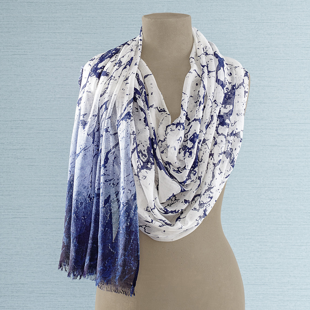 Navy & White Marbled Scarf