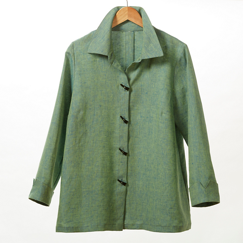 Carol Linen Blouse, Grass Green