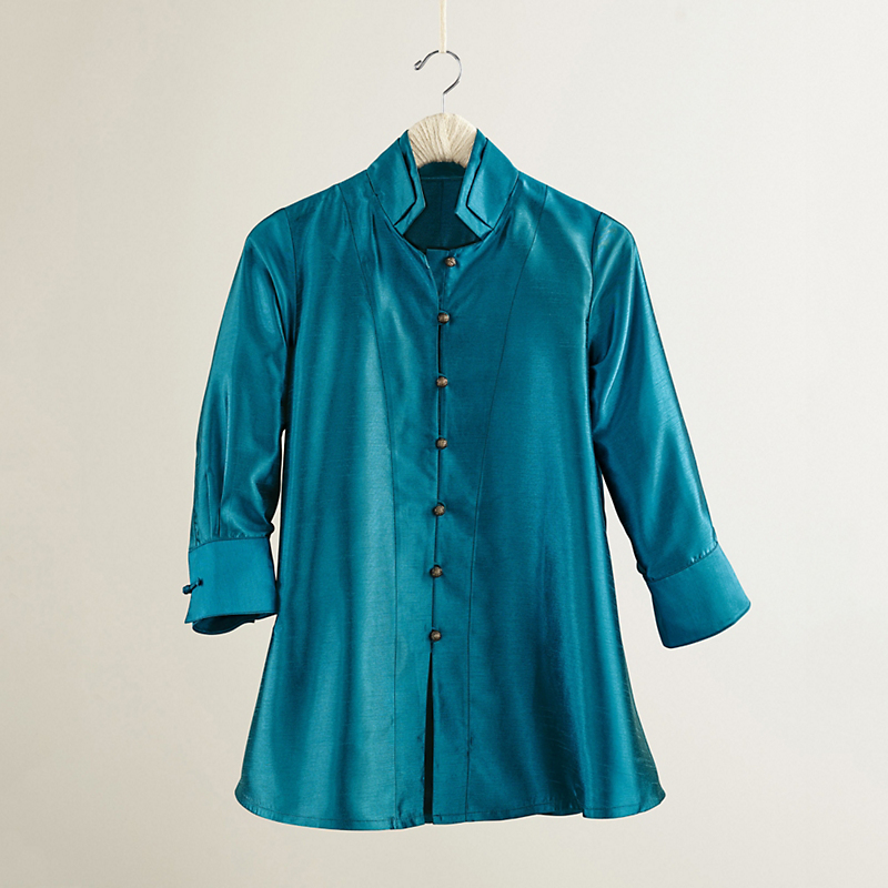 Rising Phoenix Silk Emma Blouse, Blue