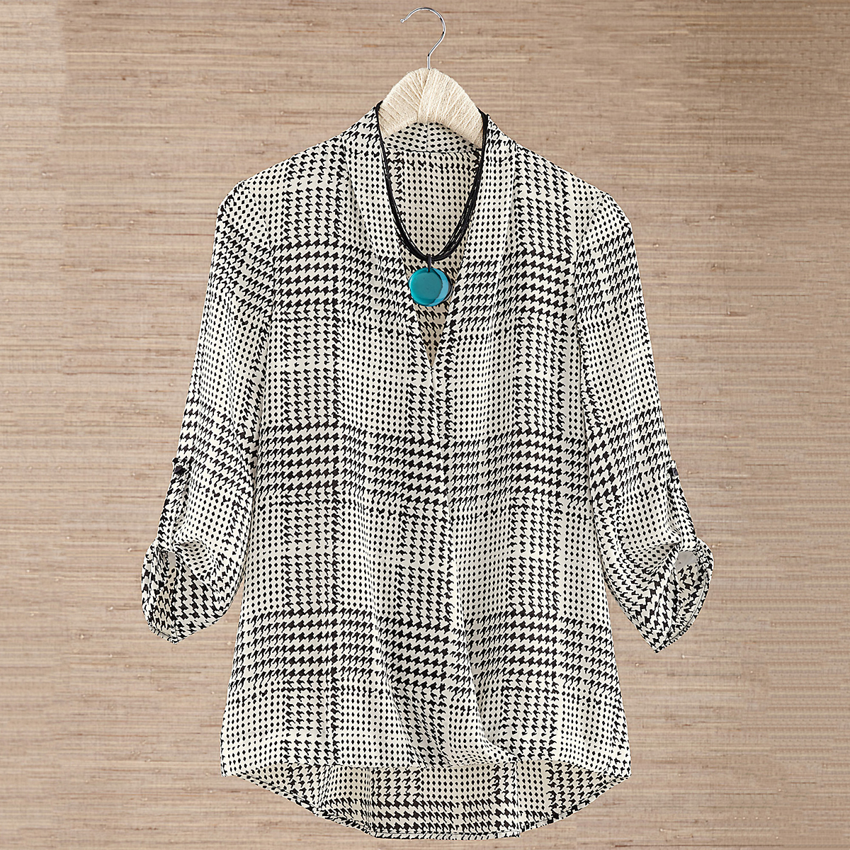 Houndstooth Crossover Blouse