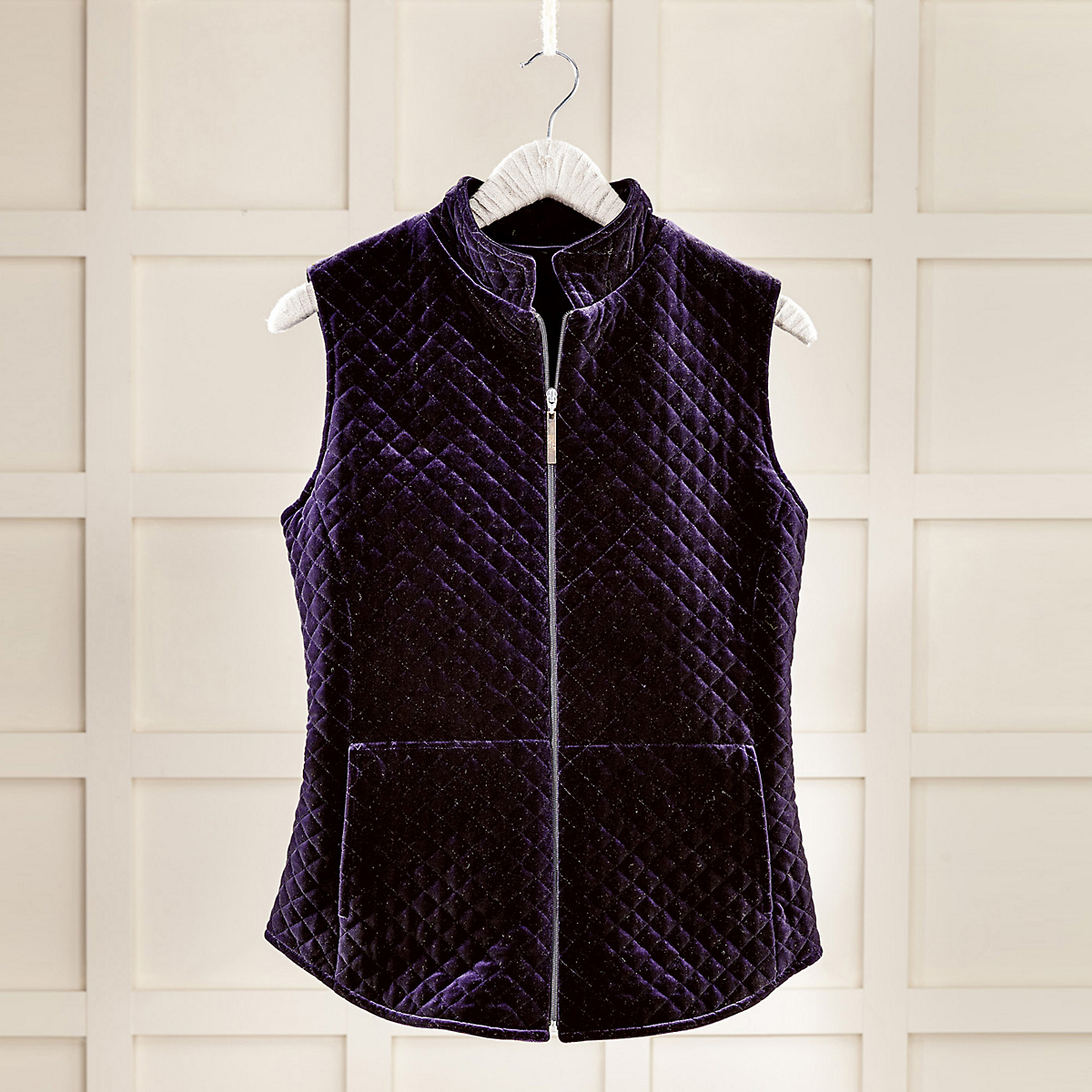 Stretch Velvet Quilted Vest