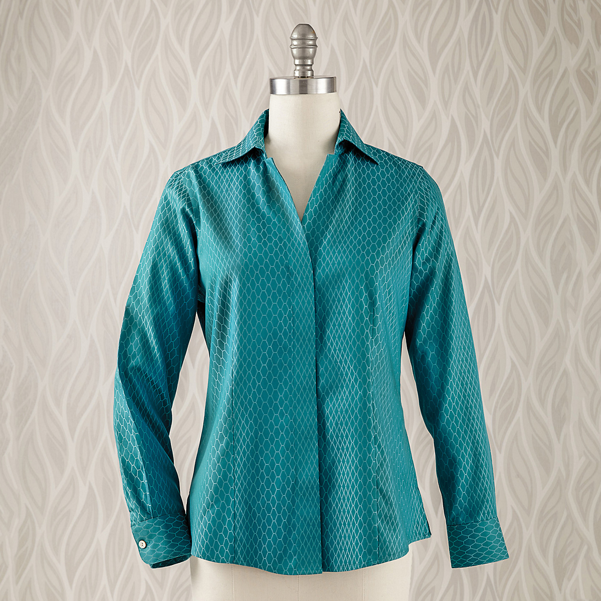 Foxcroft Non-Iron Diamond Jacquard Shirt