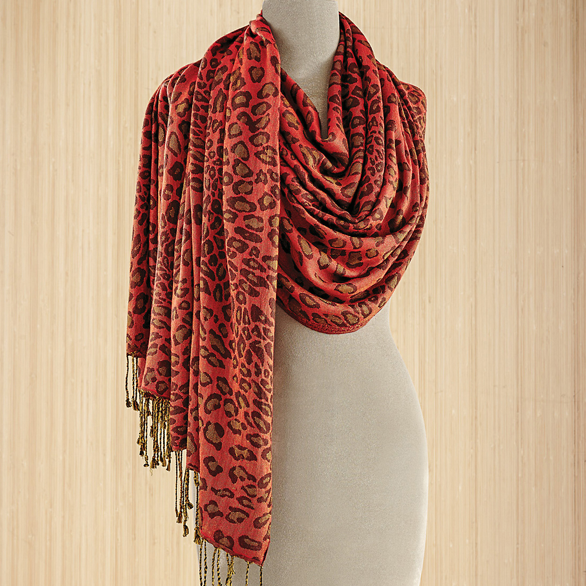 Animal-Print Scarf, Red