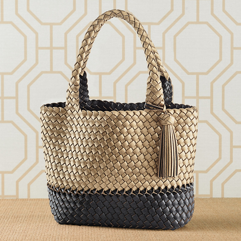 Reversible Metallic Woven Shopper, Black
