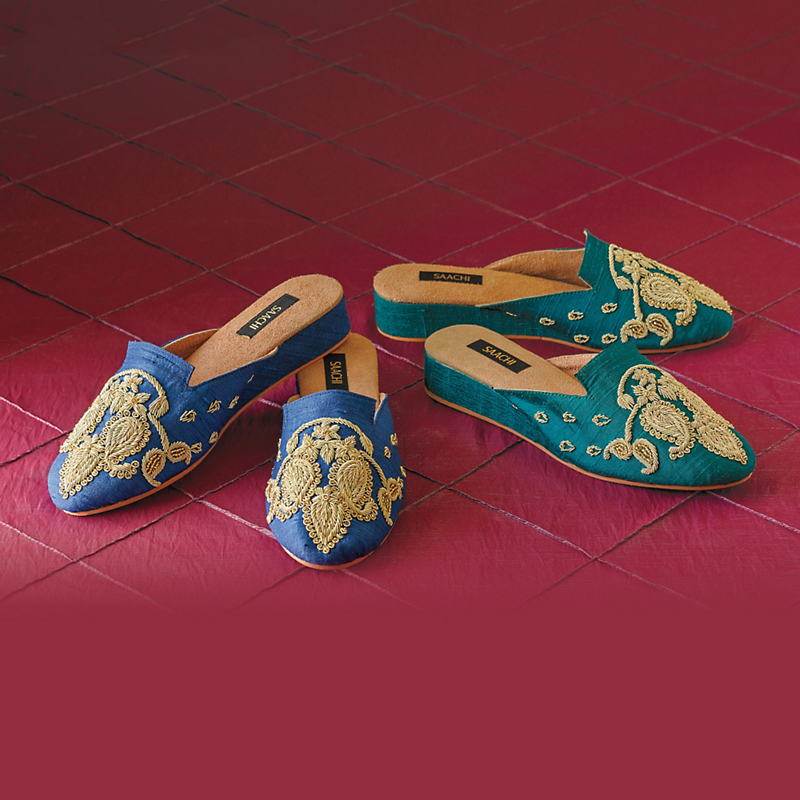 Embroidered Silk Mules