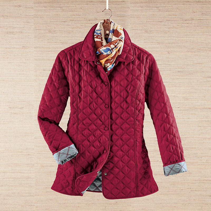 Silver Linings Quilted Coat, Merlot
