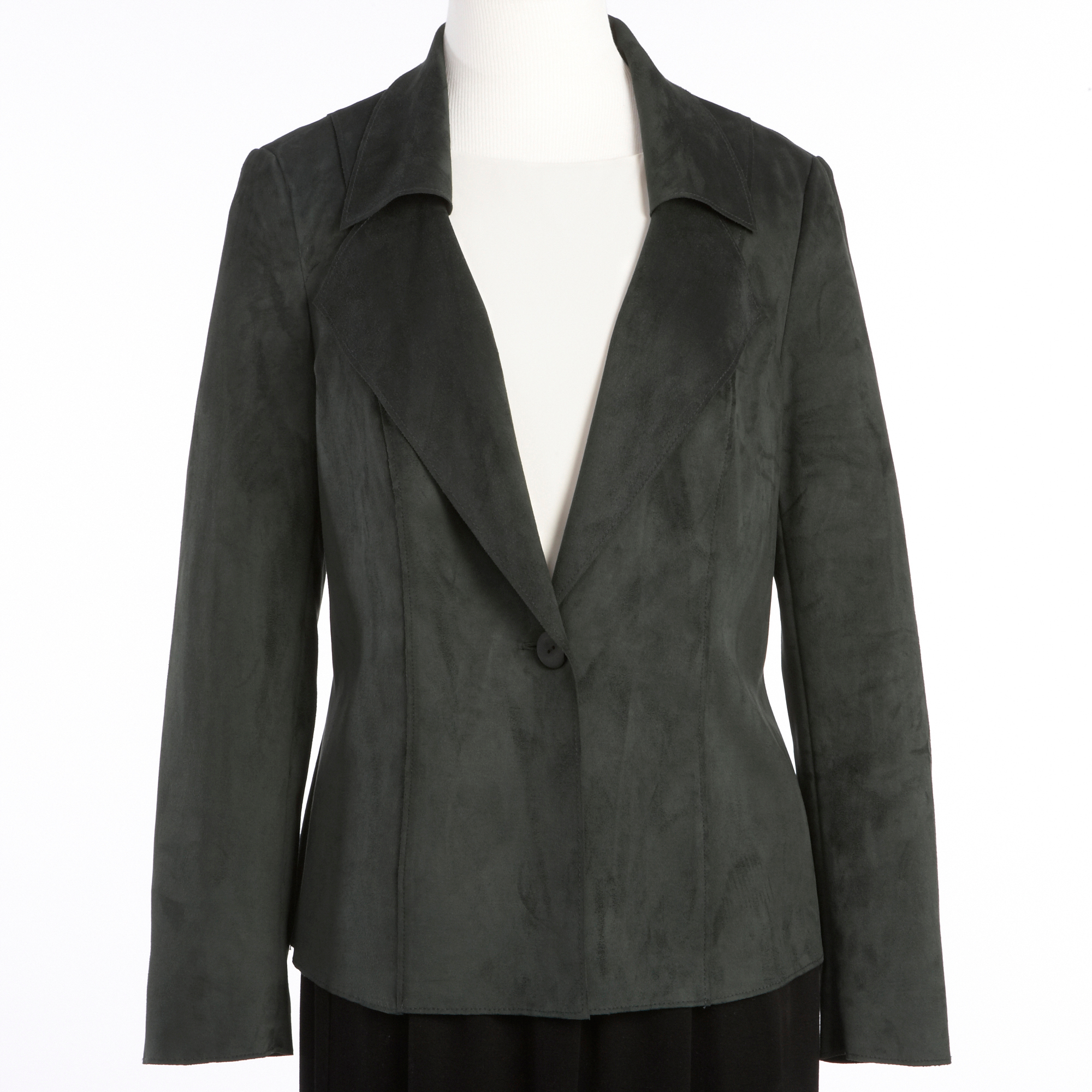 Stretch Faux Suede Jacket, Hunter Green