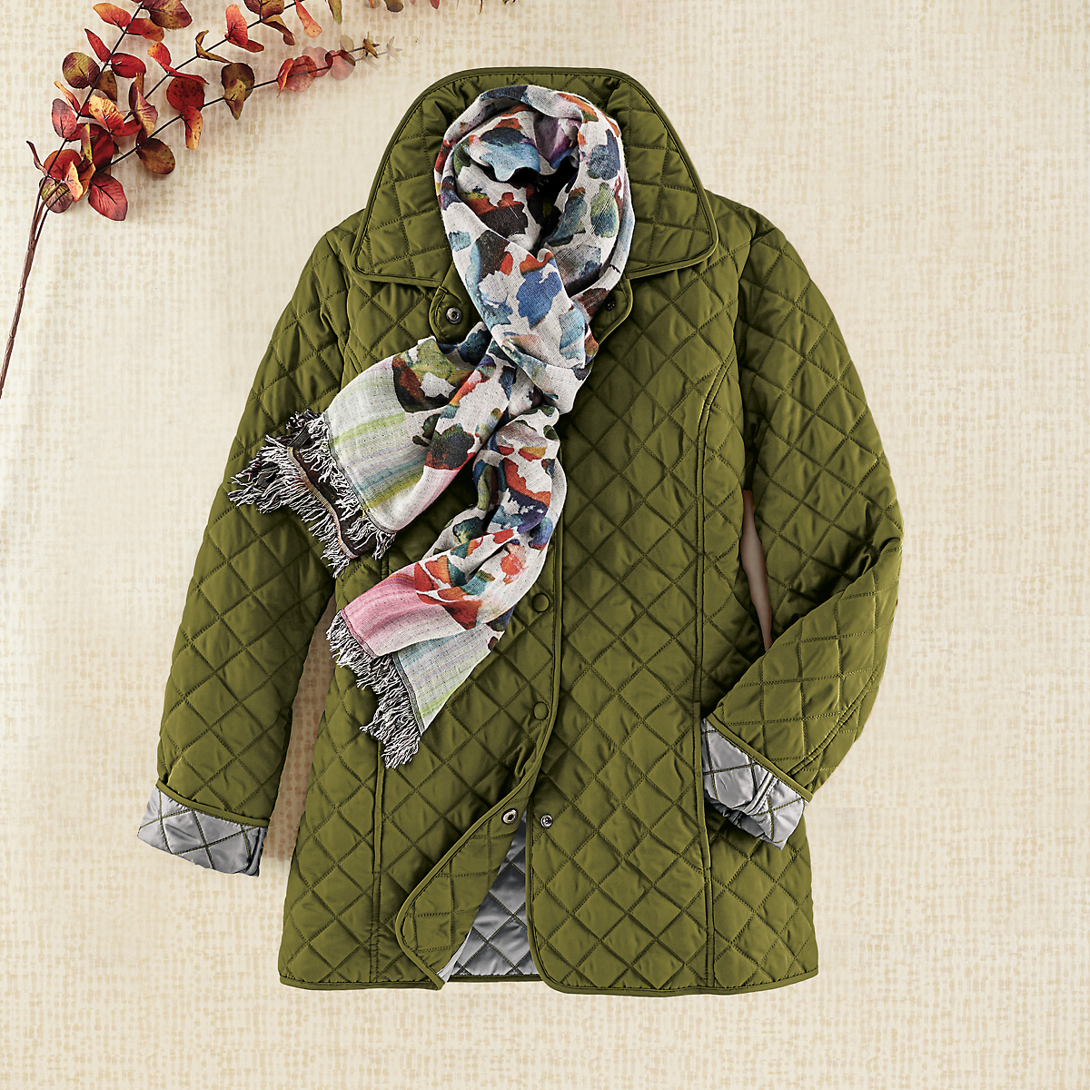 Silver Linings Quilted Coat, Moss Green