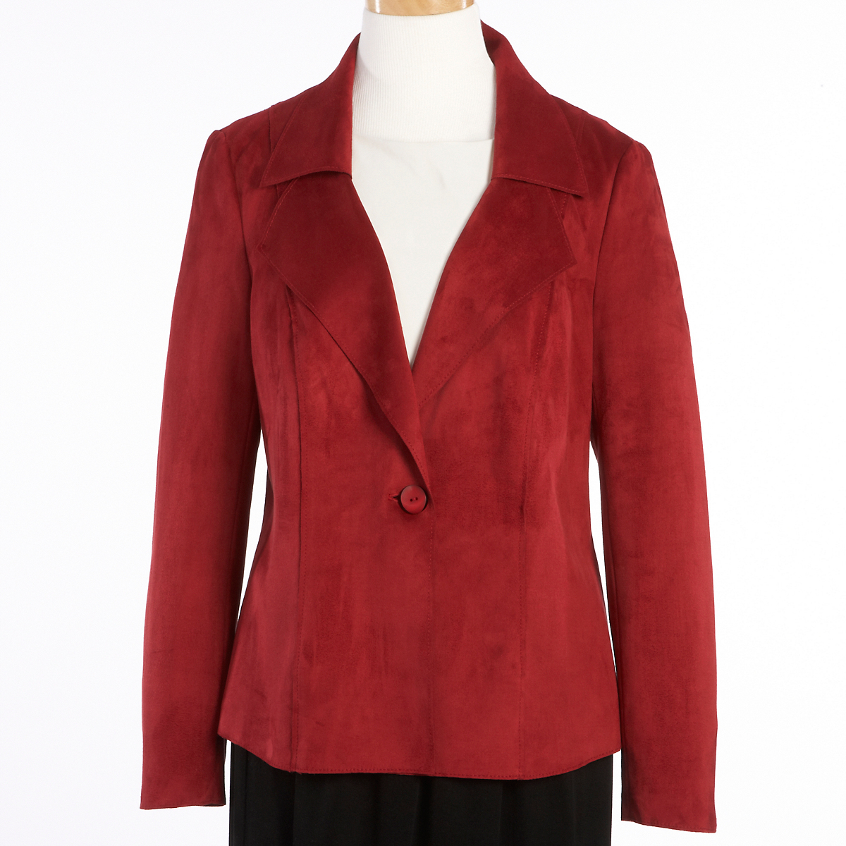 Stretch Faux Suede Jacket, Red