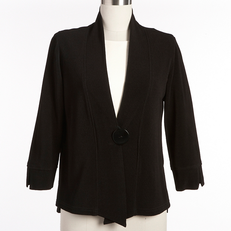 One-Button Bouclé Jacket, Black