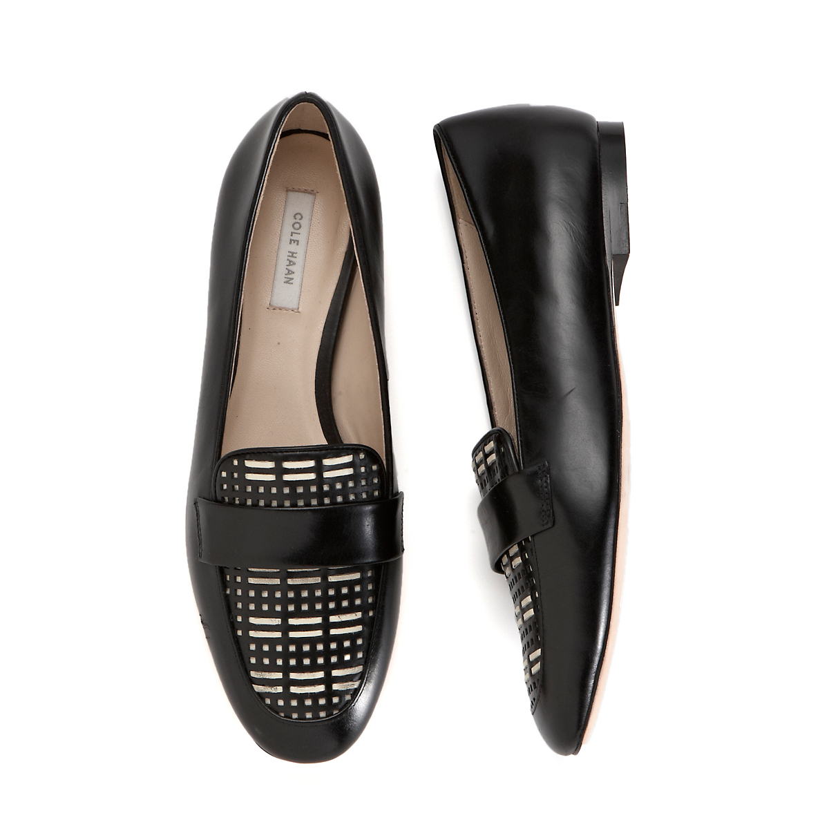Cole Haan Dakota Woven Loafers, Black & White