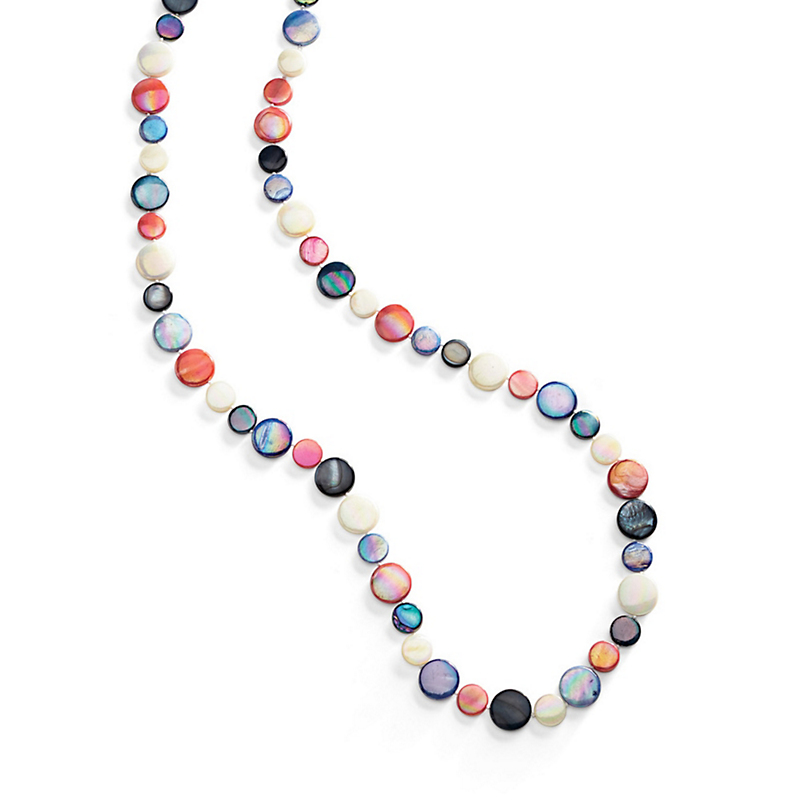 Mother-Of-Pearl Rope Necklace, Multi