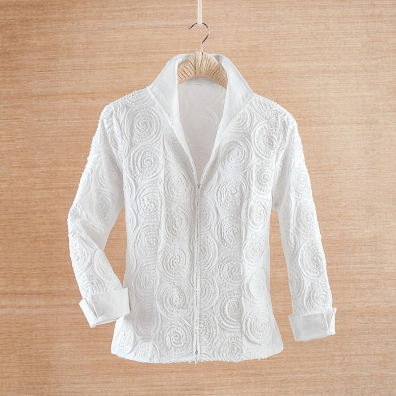 Zip-Front Soutache Blouse