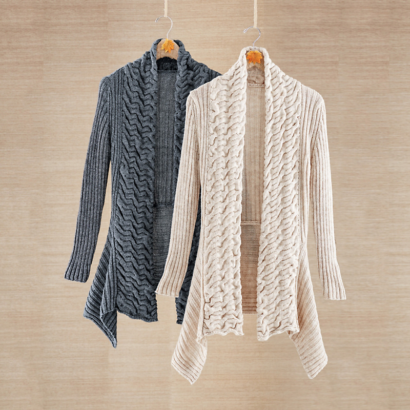 Draped Cable Cardigan