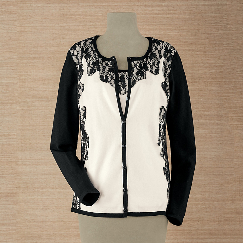 Lace-Trim Cardigan