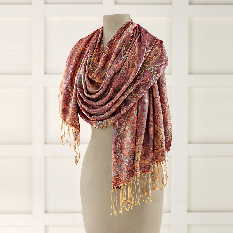 Golden Paisley Silk Shawl