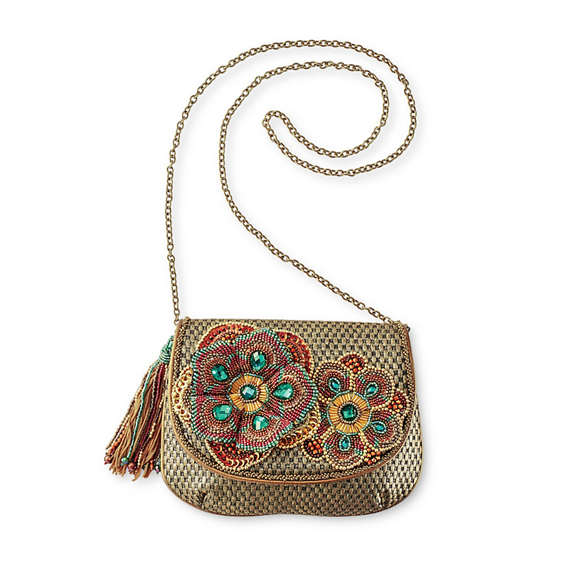Mary Frances Metallic Flower Bag