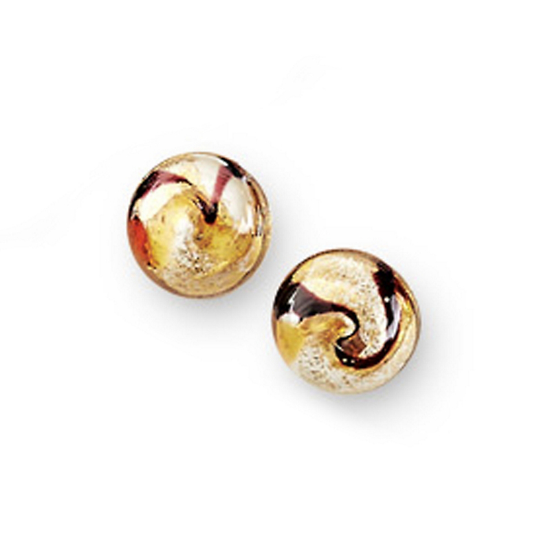 Murano Gold Marbled Clip Earrings