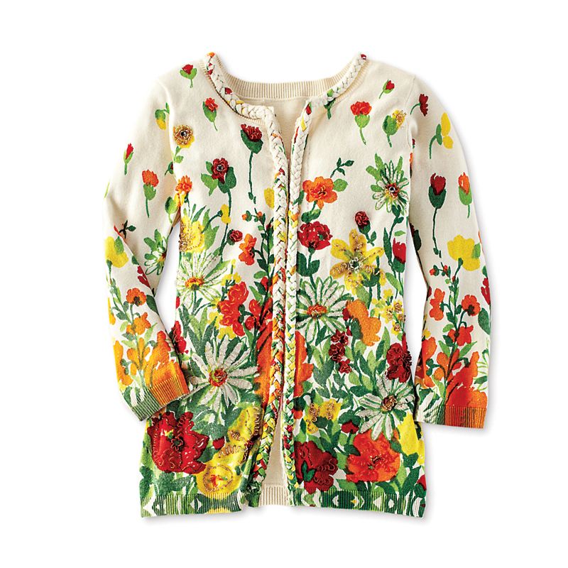 Michael Simon Beaded Floral Cardigan