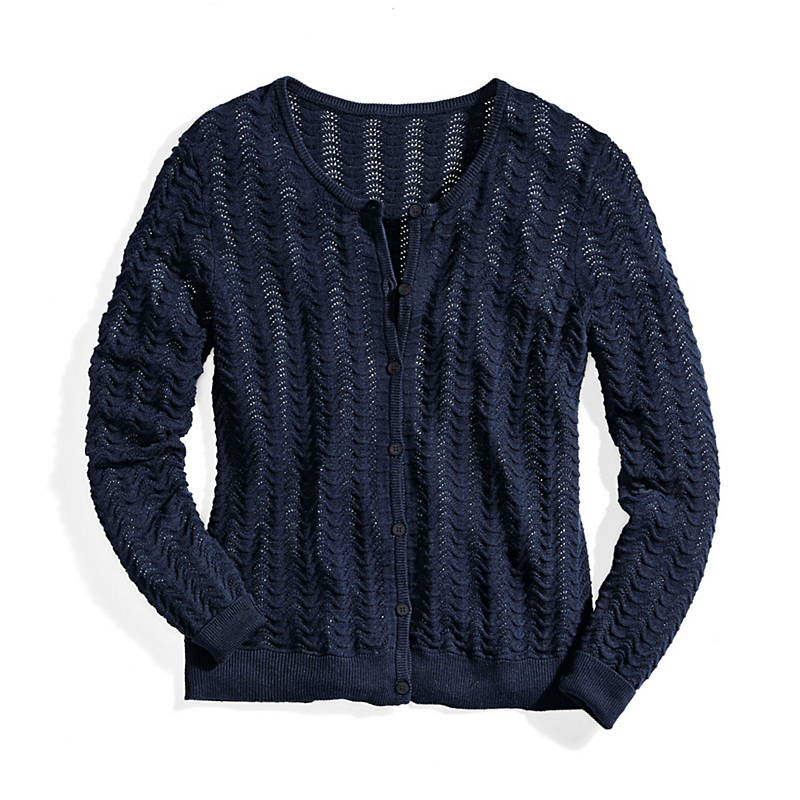 Pointelle Knit Cotton Cashmere Cardigan