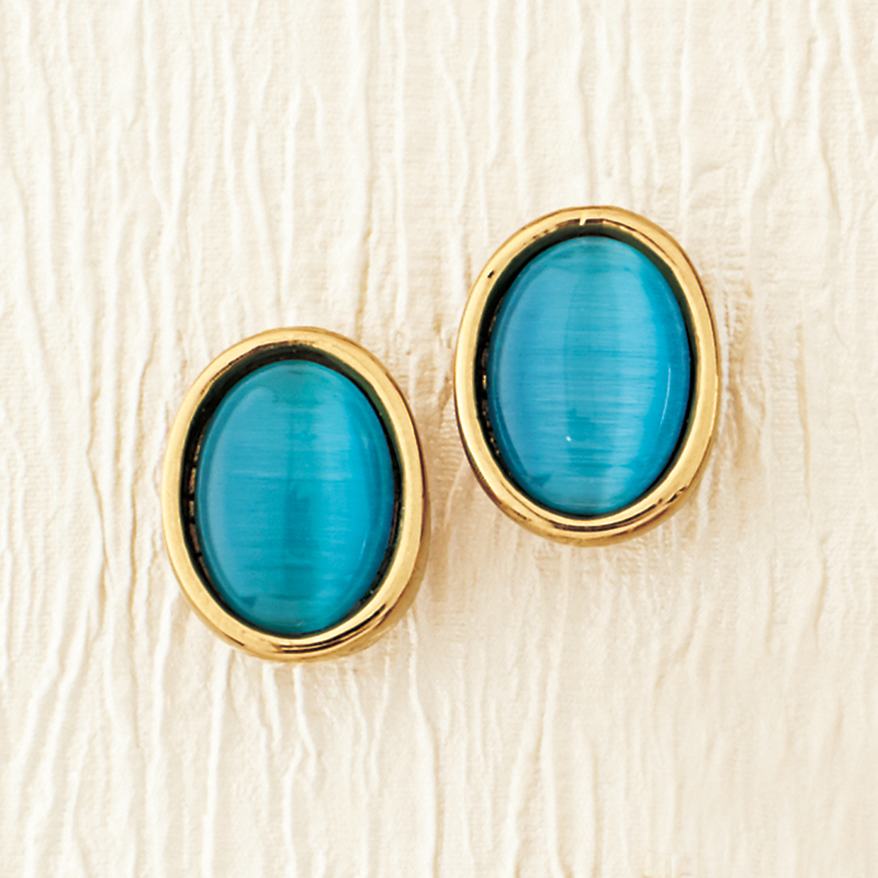 Simon Sebbag Aqua Oval Clip Earrings