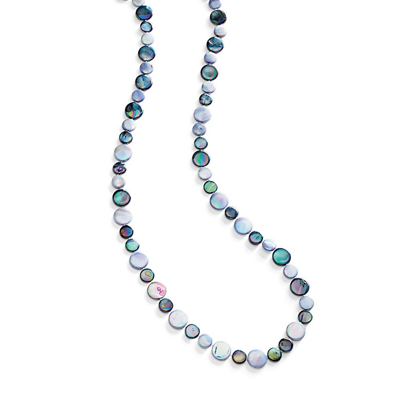 Mother-Of-Pearl Rope Necklace, Navy