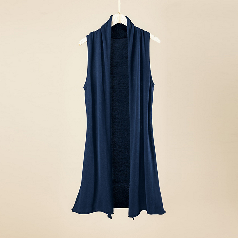 Cotton Cashmere Sleeveless Duster, Midnight Blue