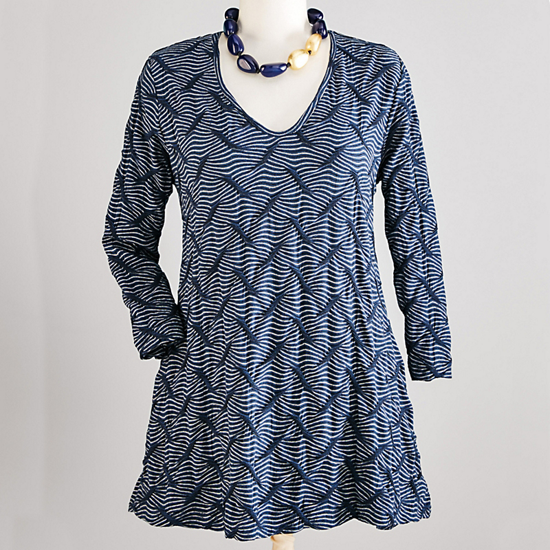 Textured Lounge Collection Puckered Stripe Tunic
