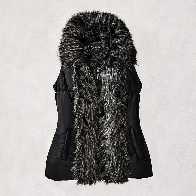 Tipped Fur-Trim Vest