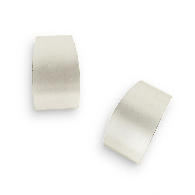 Silver Block Clip Earrings
