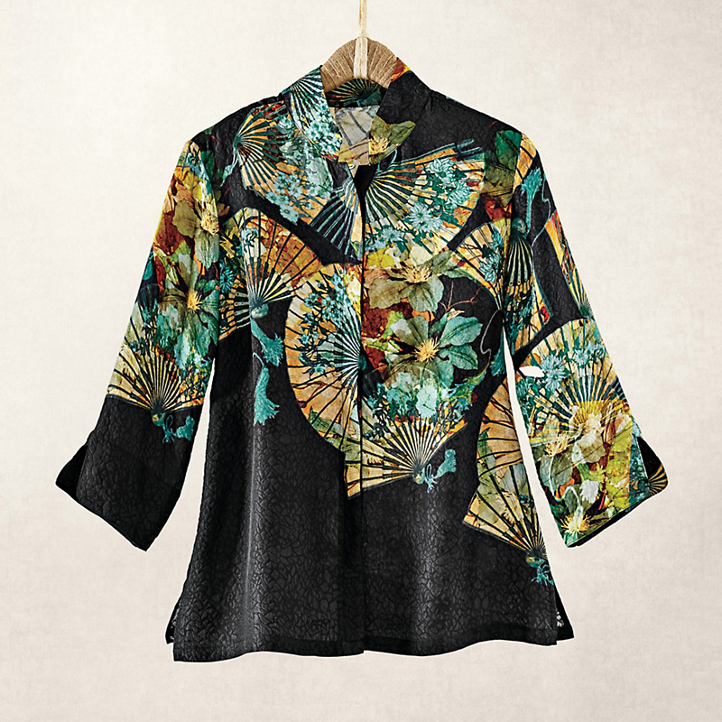 Silk Cloque Fan Blouse