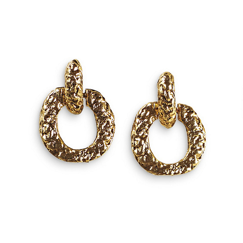 Antique Gold Clip Door Knocker Earrings