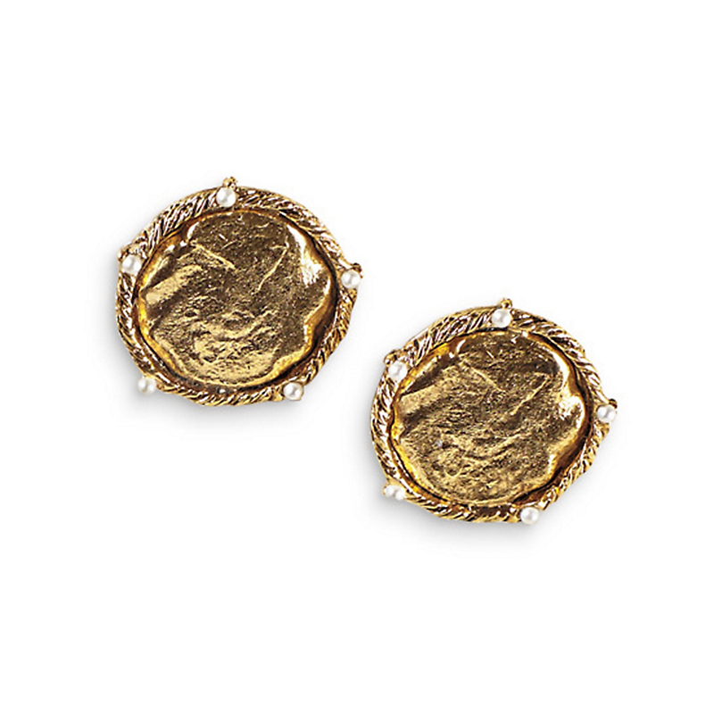 Antique Gold Clip Coin Earrings