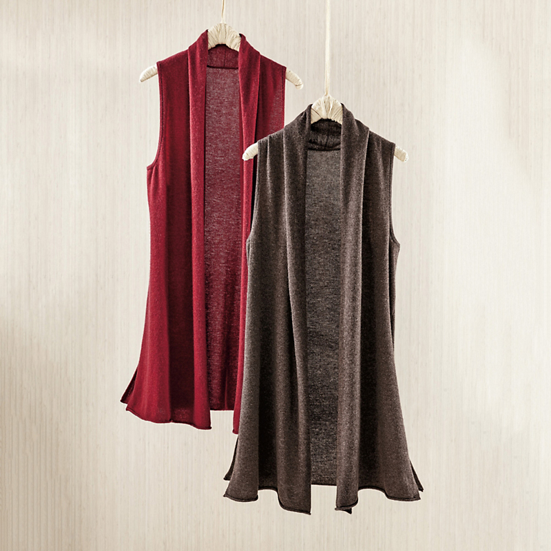 Cotton Cashmere Sleeveless Duster