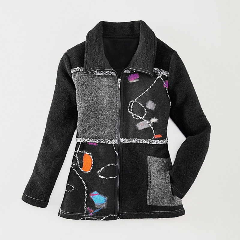 Embroidered Patchwork Coat