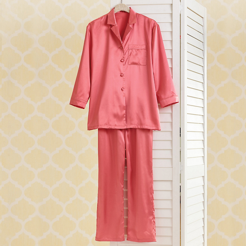 Coral Satin Pajamas