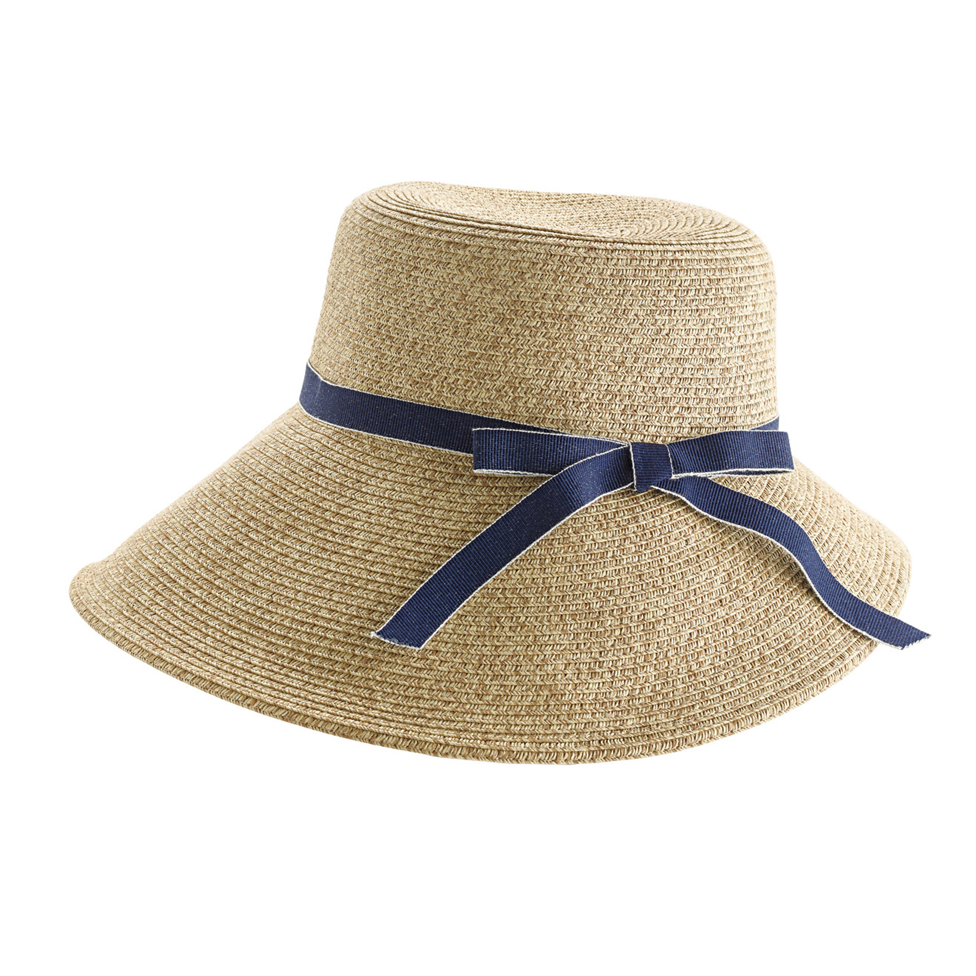 Straw Hat With Blue Ribbon