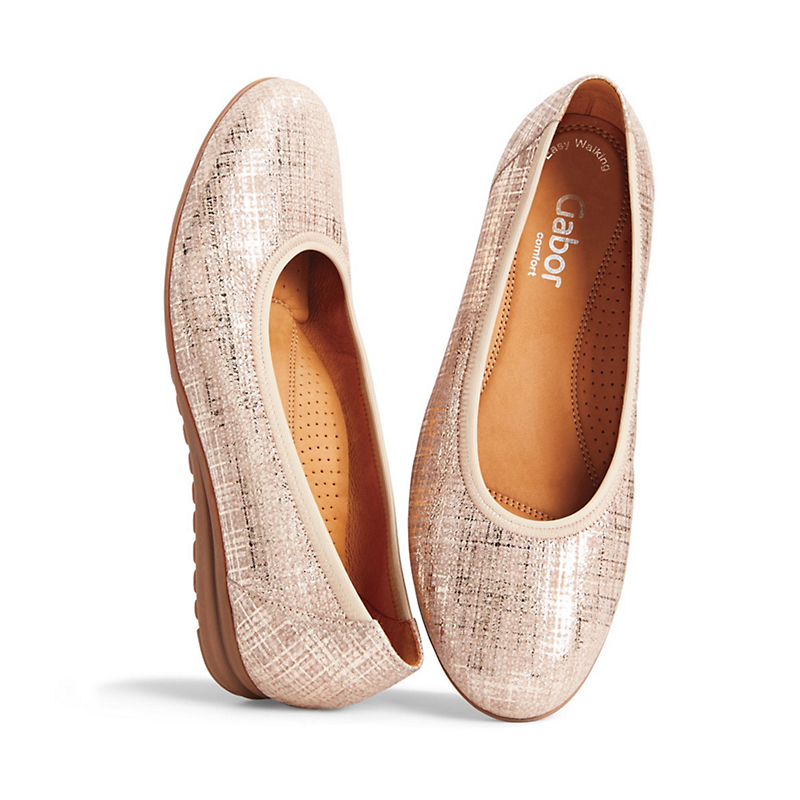 Gabor Metallic Leather Ballet Flats