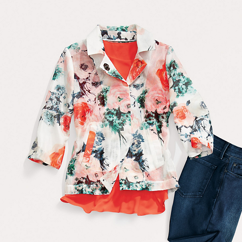 Floral Shadow-Stripe Jacket