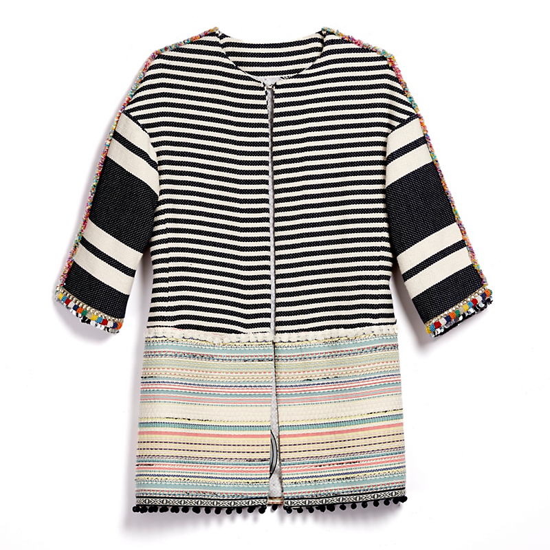 Woven Embroidered Stripe Coat