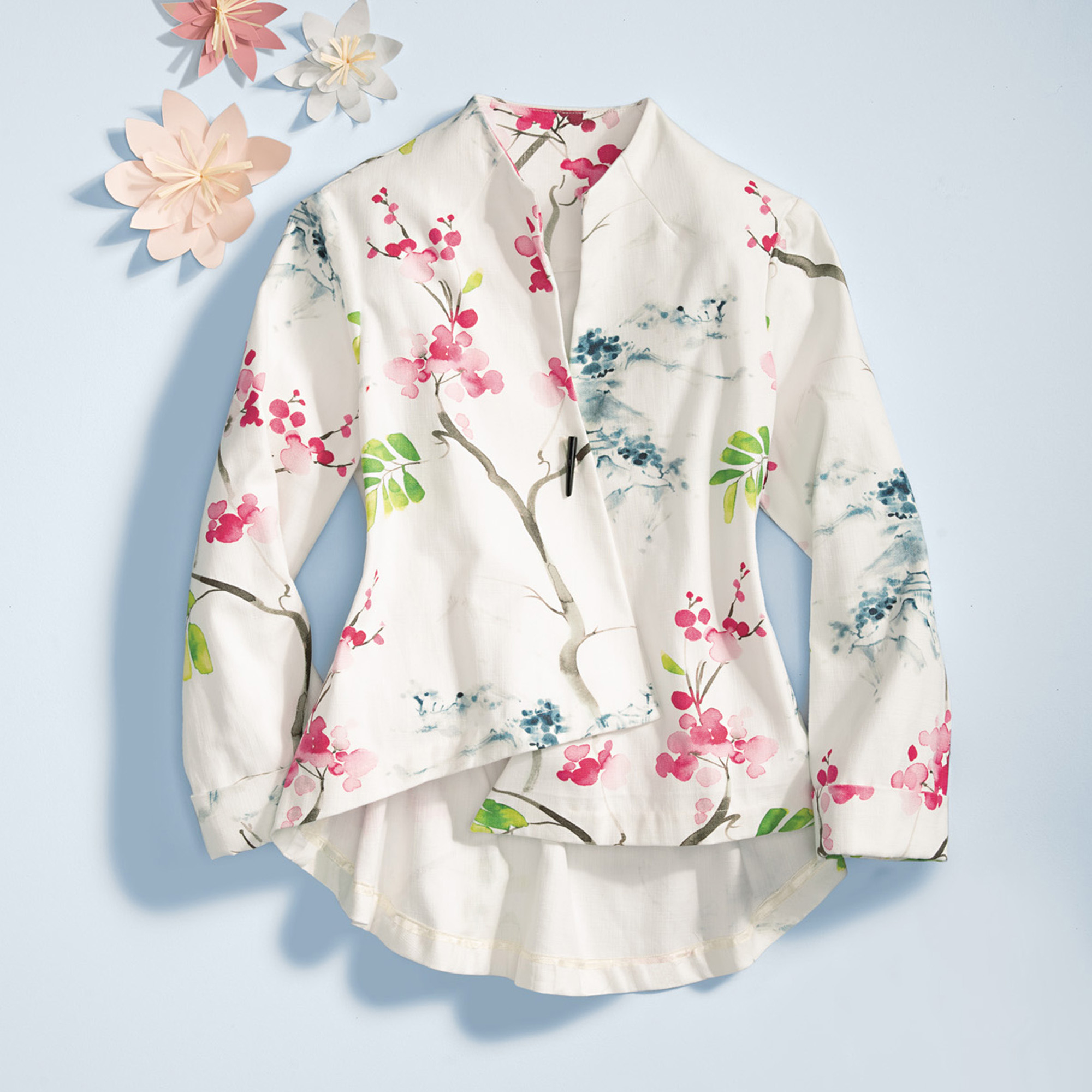 Asymmetrical Cherry Blossom Jacket