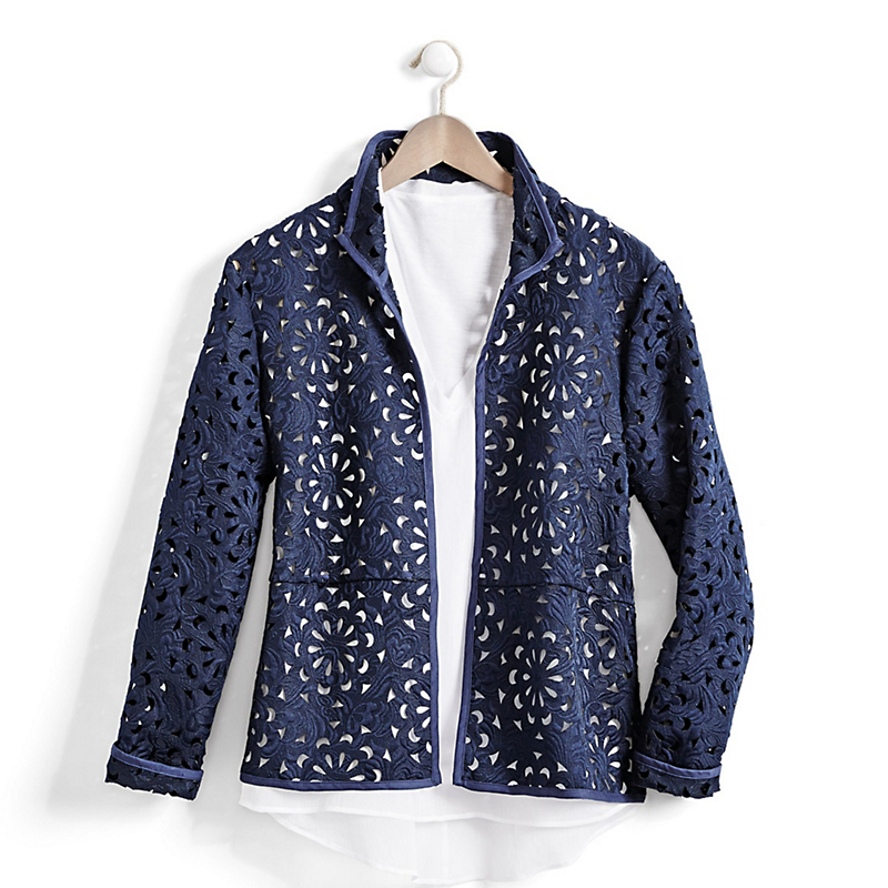 Navy Laser-Cut Jacket
