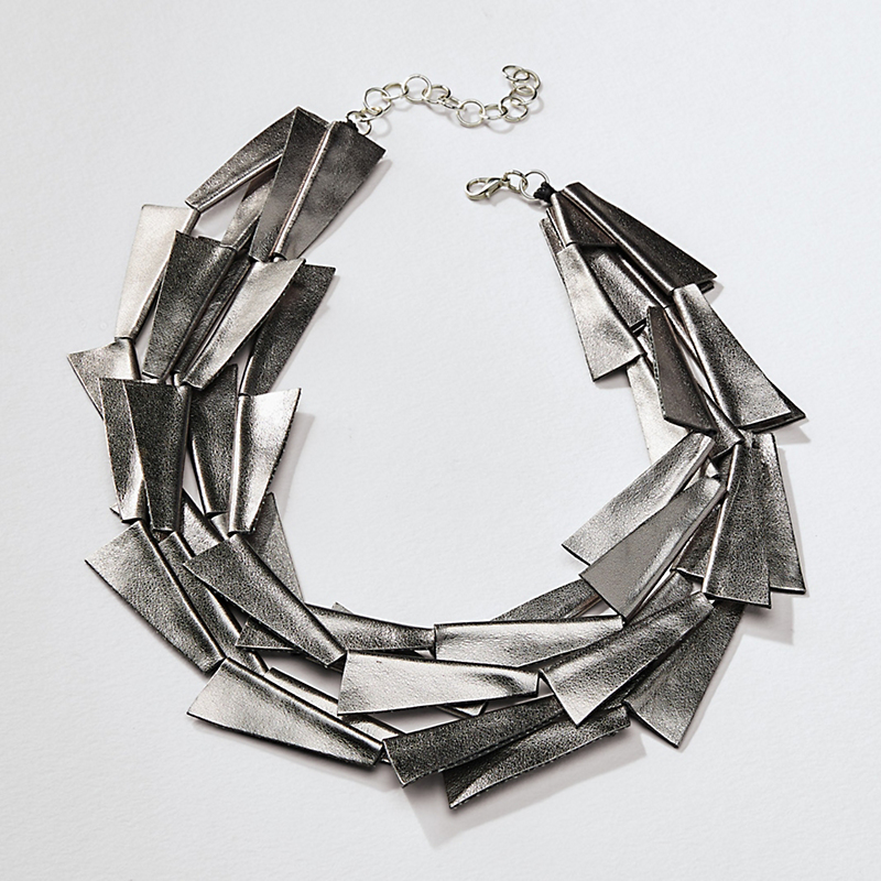 Faux Leather Blades Necklace
