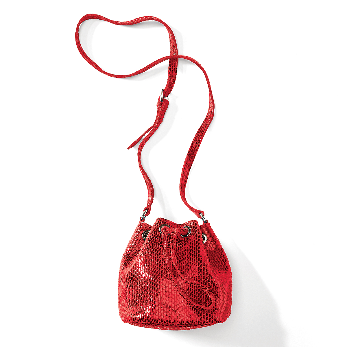 Snake-Embossed Bucket Bag