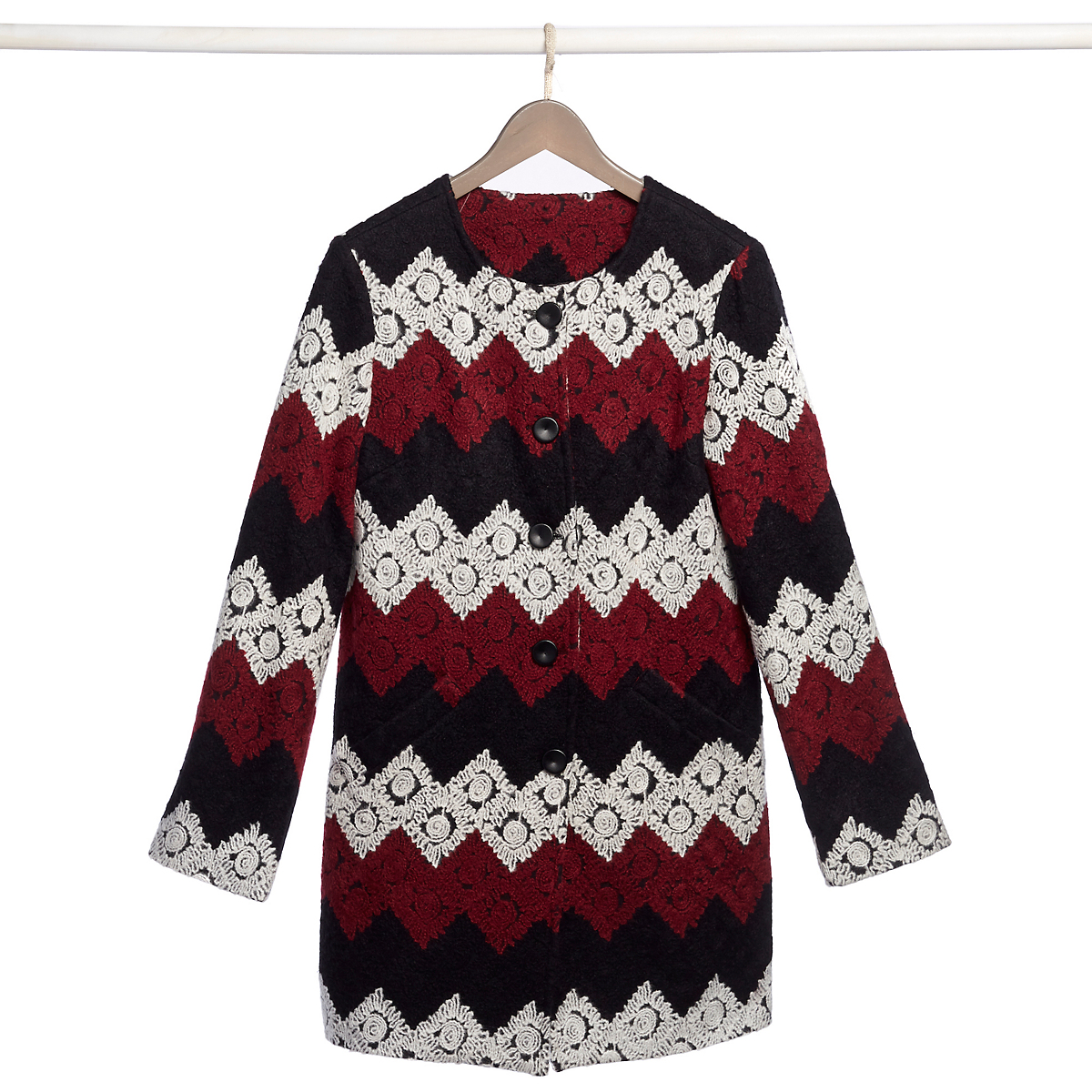 Chevron Embroidered Coat
