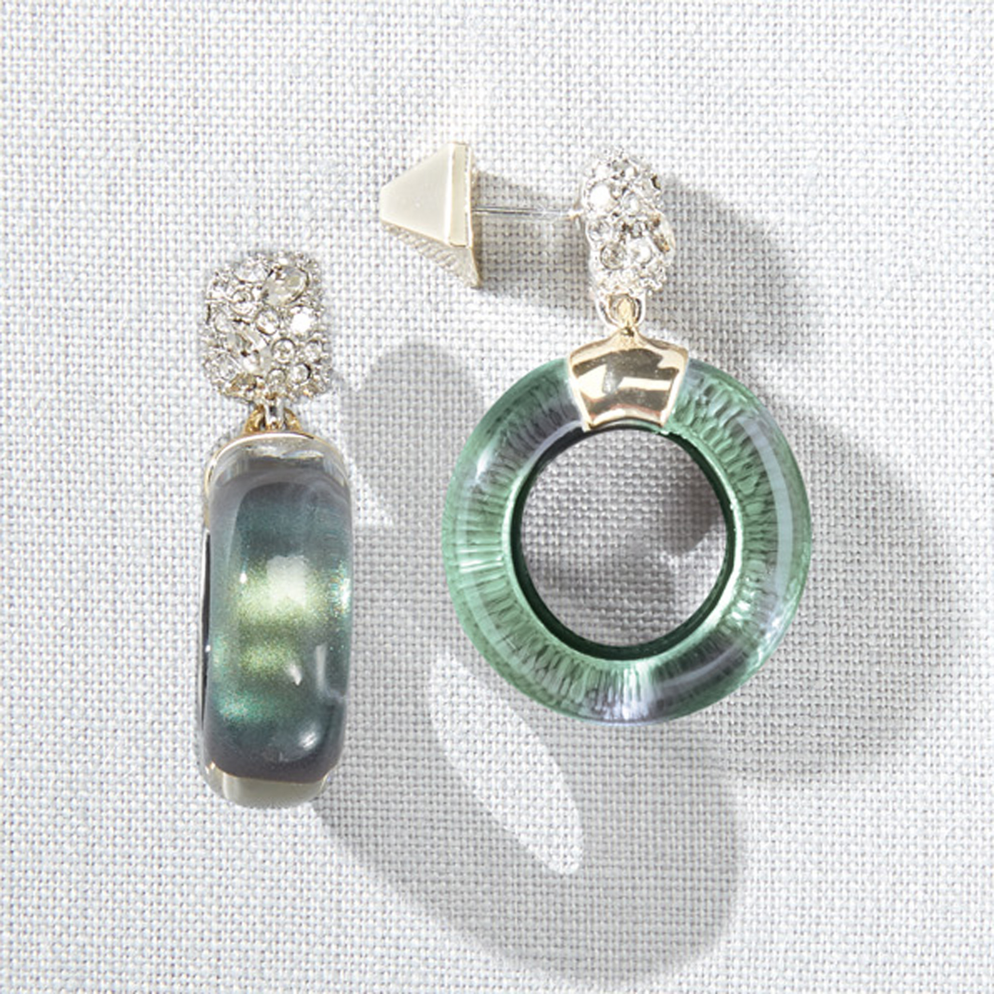 Alexis Bittar Deep Jade Circle Drop Lucite Earrings