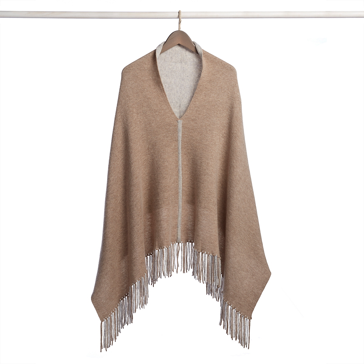 Reversible Fringed Poncho
