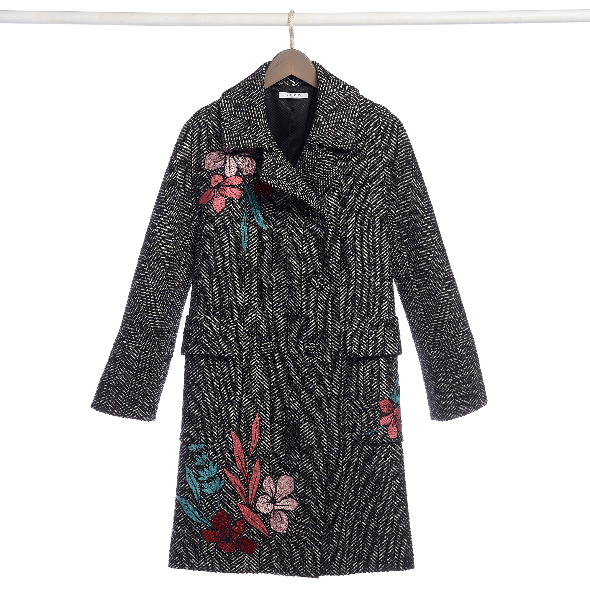 Floral Herringbone Coat