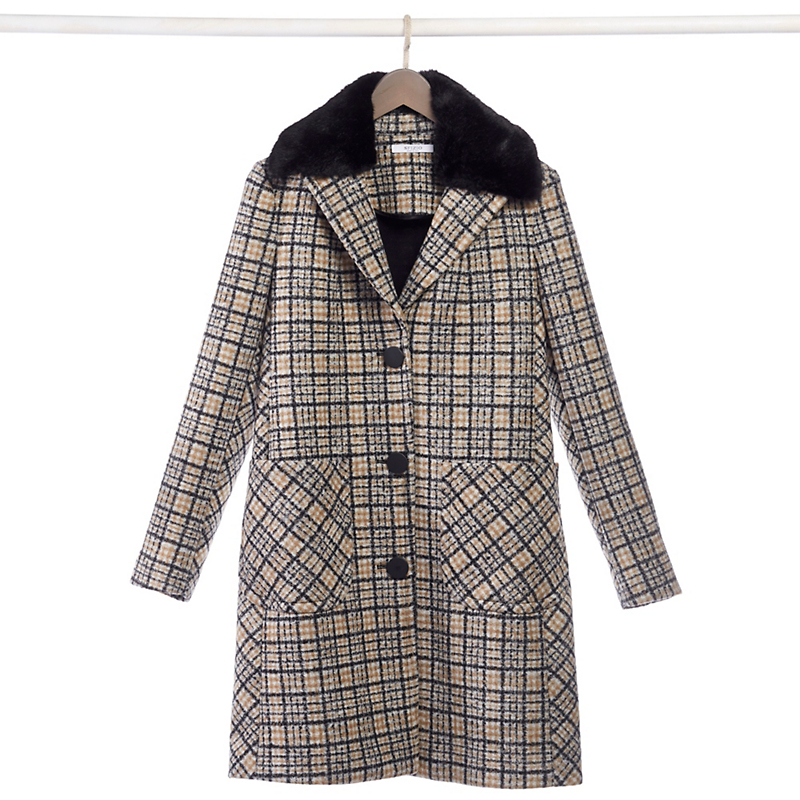 Plaid & Faux Fur Coat