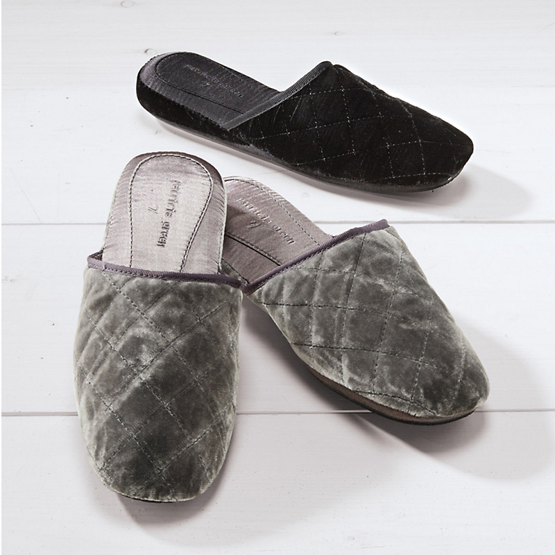 Quilted Velvet Slippers